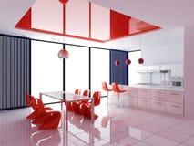 Modern binnenland van keuken Stock Afbeelding