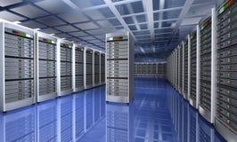 Modern binnenland van serverruimte in datacenter Stock Afbeelding