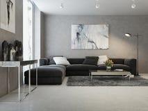 Modern binnenland van woonkamer stock illustratie