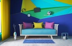 Modern binnenland van woonkamer het 3d teruggeven Stock Afbeelding