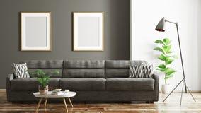 Modern binnenland van woonkamer met bank het 3d teruggeven royalty-vrije illustratie