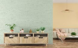 Modern binnenland van woonkamer met het houten buffet en bank 3d teruggeven stock foto