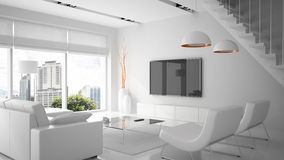 Modern binnenland in witte kleur Stock Fotografie