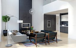 Modern Binnenlands ontwerp royalty-vrije stock afbeelding