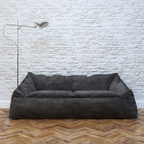 Modern Binnenlands Ontwerp met Comfortabel Zwart Sofa And Lighting Stock Foto's