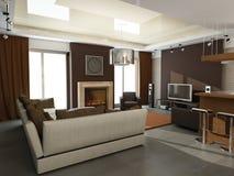 Modern binnenlands ontwerp (privat 3d geeft de flat terug Stock Afbeelding