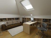 Modern binnenlands ontwerp (privat 3d geeft de flat terug Royalty-vrije Stock Afbeeldingen