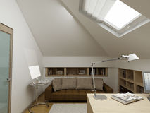 Modern binnenlands ontwerp (privat 3d geeft de flat terug Stock Fotografie