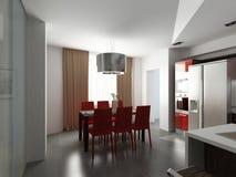 Modern binnenlands ontwerp (privat 3d geeft de flat terug Royalty-vrije Stock Foto