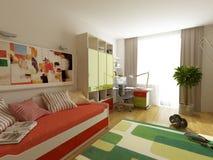 Modern binnenlands ontwerp (privat 3d geeft de flat terug Stock Foto's