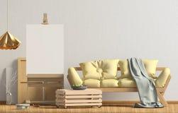 Modern binnenlands ontwerp in Skandinavische stijl met bank en schildersezel Royalty-vrije Stock Fotografie