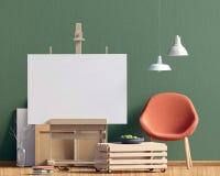 Modern binnenlands ontwerp in Skandinavische stijl met koffietafel a Stock Afbeelding
