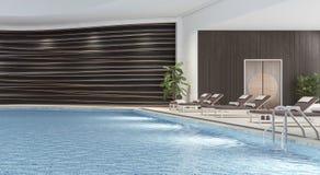 Modern binnenlands ontwerp van binnen zwembad Stock Afbeelding