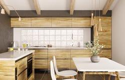 Modern binnenlands ontwerp van houten keuken met eiland 3d renderin vector illustratie