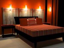 Modern binnenlands ontwerp van slaapkamer Stock Afbeeldingen