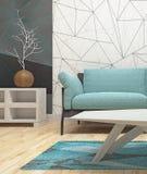 Modern binnenlands ontwerp van woonkamer Stock Afbeelding