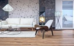 Modern binnenlands ontwerp van woonkamer Royalty-vrije Stock Fotografie