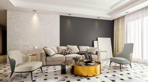 Modern binnenlands ontwerp van woonkamer met marmeren bevloering en grote glasdeur met terras, gelaten vallen opgeschort 3d plafo vector illustratie