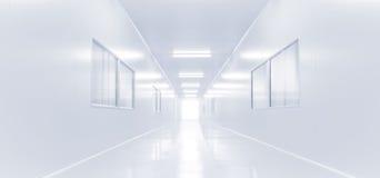 Modern binnenlands wetenschapslaboratorium met verlichting van gateway stock foto