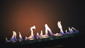 Modern bio fireplace on ethanol gas. Smart ecological alternative technologies. Energy saving innovation.  stock footage