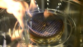 Modern bio fireplot on ethanol gas close-up. One Biofireplace burn on ethanol gas. Contemporary mount biofuel on ethanol fireplot fireplace close-up. Flame gas stock footage