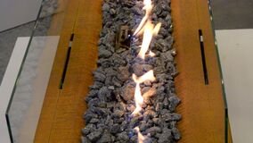 Modern bio fireplot fireplace on ethanol gas. Smart ecological. Alternative technologies. Contemporary biofuel on ethanol close-up. Energy saving innovation stock video