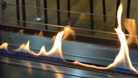 Modern bio fireplot fireplace on ethanol gas. Smart ecological. Alternative technologies. Contemporary biofuel on ethanol close-up. Energy saving innovation stock footage