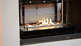 Modern bio fireplot fireplace on ethanol gas. Smart ecological. Alternative technologies. Contemporary biofuel on ethanol close-up. Energy saving innovation stock video footage
