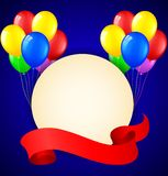 Modern birthday background with balloons and place for text Stock Photography