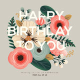 Modern birthday floral card Royalty Free Stock Photo