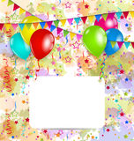 Modern birthday greeting card with balloons and co Royalty Free Stock Images