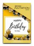 Modern birthday invitation card with balloon ornament stock illustration