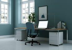 Modern blå tolkning för inrikesdepartementetinredesign 3d Royaltyfri Bild