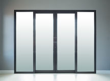 Modern black aluminium door with wall background Stock Image