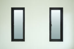 Modern black aluminium window with white wall Stock Image