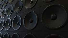 Modern Black Amplifier Array. Large arrangement of modern black amplifiers. This image is 3d illustration Royalty Free Stock Photography