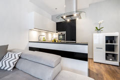 Modern Black And White Small Kitchen Stock Photo