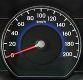 Modern black automobile dashboard with speedometer. Speeding and power concept. Zero speed Royalty Free Stock Photos