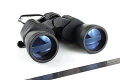 Modern black binoculars. Types of the binoculars in different foreshortenings Royalty Free Stock Images