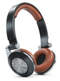 Modern black brown wireless headphones Stock Photography