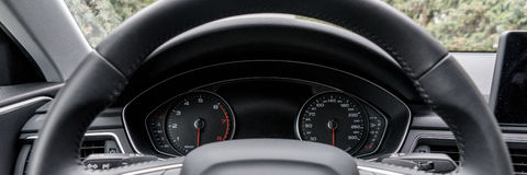 Modern black car instrument panel. With different displays Stock Photos