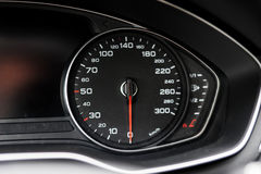 Modern black car instrument panel. With different displays Stock Photo