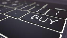 Modern black computer keyboard and luminous buy key. 3D rendering Stock Photo