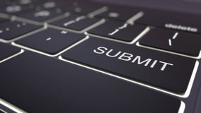 Modern black computer keyboard and luminous submit key. 3D rendering Stock Photo