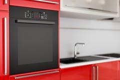 Modern Black Electric Oven Build In Red Kitchen Furniture. 3d Rendering. Modern Black Electric Oven Build In Red Kitchen Furniture extreme closeup. 3d Rendering vector illustration