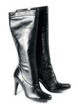 Modern black female boots Royalty Free Stock Image