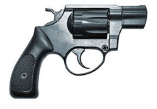 Modern black firearm revolver Stock Images