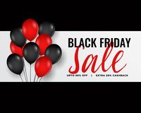 Modern black friday banner with red and black balloons. Vector royalty free illustration
