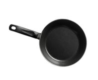 Modern black frying pan isolated on white Royalty Free Stock Photo