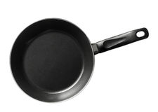 Modern black frying pan isolated on white Stock Photos